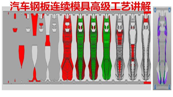 汽车钢板连续模具高级CAE工艺设计模拟分析